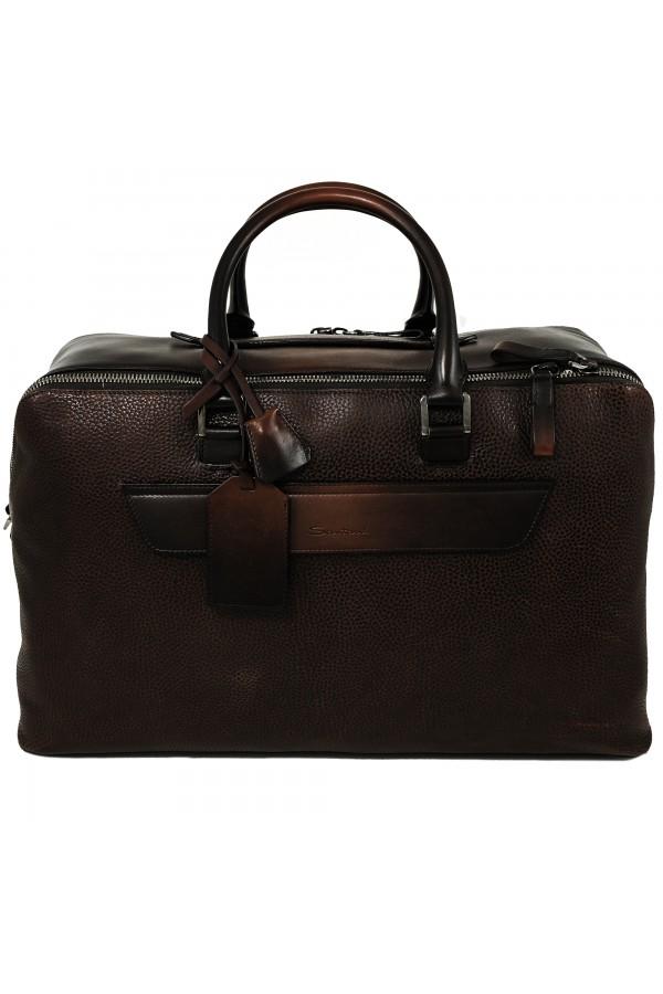 Дорожная сумка Santoni коричневая (31844)